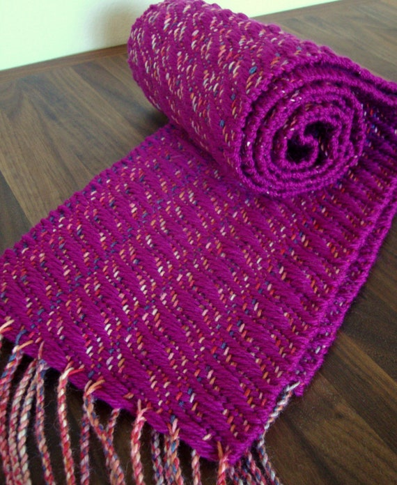 Handwoven Magenta, Pink, Lavender, and White Scarf