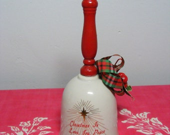 Vintage Christmas Bell Porcelain and Wood FRIENDSHIP Love, Peace 1980s Holiday Decor