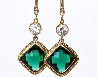 Emerald Green Diamond Shaped Crystals with Cubic Zirconia on CZ Detailed French Earrings