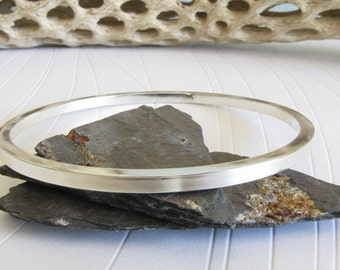 Thick sterling silver bangle.  Artisan handmade.  Modern simple design from square wire.  Chunky bracelet.  Gift for her.