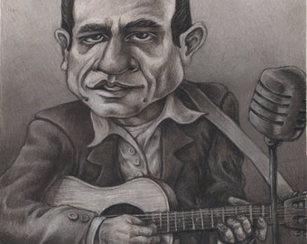 Johnny Cash Caricature Matted Print 11x14