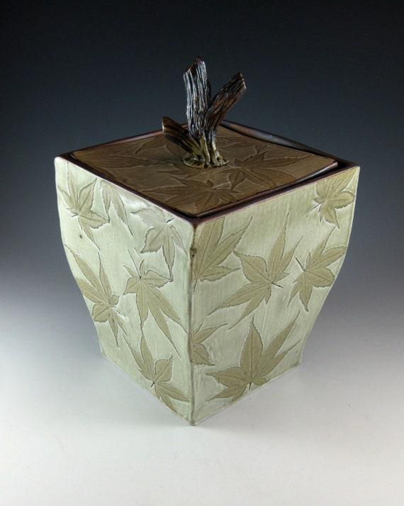 Ceramic Lidded Box Pottery Urn Botanical Japanese Maple