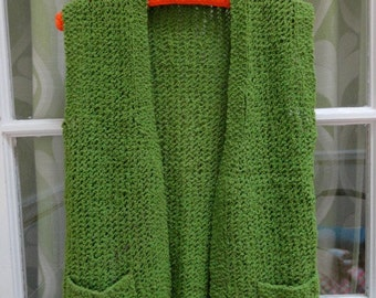 Vintage 60s Hand Knit Handmade Solid Avocado Green Vegan Open Knit Granny Sweater Vest (sz S M L)