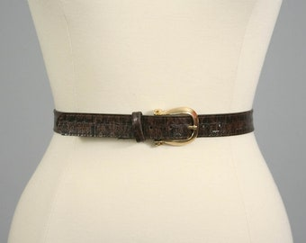 Vintage Chocolate Brown Vegan Faux Leather Textured Belt (27 - 30 inches)