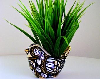 Ceramic Bird Planter Woodland Metallic Gold Silver Black White Folk Art Vase Home Decor Painted Winter - MADE TO ORDER