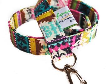 Fabric Lanyard ID Badge Holder    Jewel Stripe   Ready To Ship