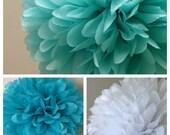 tissue pom poms / aqua / turquoise / white / set of 3