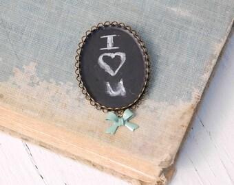 Chalkboard Brooch, Teacher Gift, Tiny Framed Chalkboard, Blackboard Art, Typography , Gift for Her, Art Brooch, Black and White,