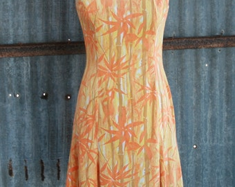 1970s Vintage Dress - Orange and Yellow Bamboo Pattern Day Dress - Sleeveless Dress with Tulip Style Short Skirt - 34 Bust
