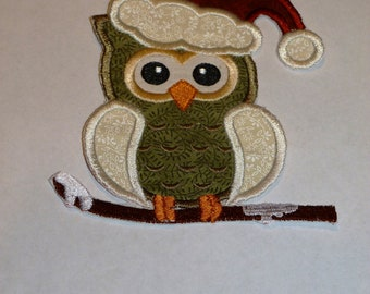 """Embroidered Iron On Applique- """"Christmas Owl  Snow Branch"""""""