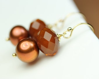 Copper colored Pearl Earrings, by art4ear, Free shipping in Canada, simple, everyday, dangle earrings, gift under 25 dollars,women's jewelry