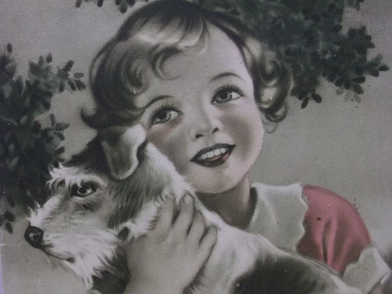 Pretty Little Girl with Her Fox Terrier Dog - Vintage Calendar Print  - ready to frame - 1930's