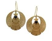 Amenhotep winged scarab earrings
