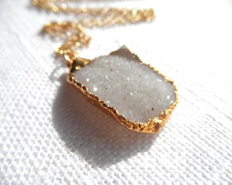 Druzy necklace - white druzy necklace -gold necklace - druzy and gold - D R U Z Y 101