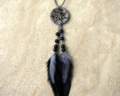 Dream Catcher - Black and Gray Feather Dreamcatcher, Car Dream Catcher - Lullaby