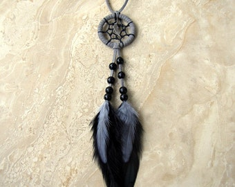 Dream Catcher - Black and Gray Feather Dreamcatcher, Car Dream Catcher - Lullaby