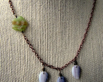 30% OFF Beaded Flower Leaf Necklace - Floral Glass Drop Chain Necklace - Indigo Leaves (Ready to Ship)