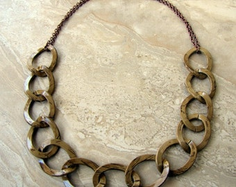 Chain Necklace - Brown Chunky Chain, Oversized Chain Links - Stellar Statement Necklace No. 10 (Ready to Ship)