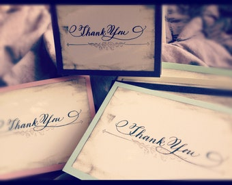 Calligraphy Vintage Thank You Card Set of 4 Love No. 24.002