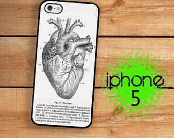 iPhone 5S SE Vintage Medical Chart Anatomical Heart Chart Plastic or Rubber Case for iPhone 5 SE iPhone 5S