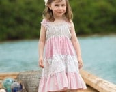 """Sweet """"Strawberries & Cream"""" Peasant Ruffle Dress for Girls - Light Pink and White - Floral - Spring - Easter - Birthday - Party - Holiday"""