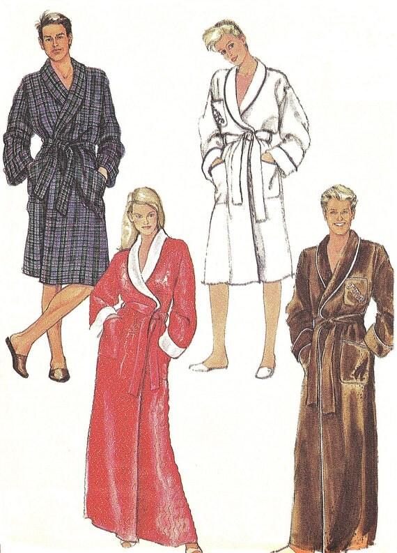 "Vintage 1980s Bathrobe Front Wrap Long or Short Robe Unisex Miss/Men Sewing Pattern Simplicity 7659 (L38-41"")"