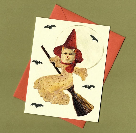 CLEARANCE - Cat Witch Halloween Card, Vintage Style