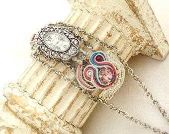 Handmade soutache watch , La Petite Louise , Art deco inspiration , cocktail jewelry , ladies watch