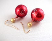 Red Christmas Ornament with Gold Bead Earrings