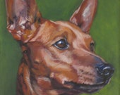 red Miniature Pinscher CANVAS art print of LA Shepard dog portrait painting 8x10