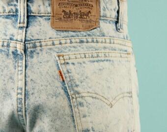 """Vintage Levis Jeans 80s Acid Wash Double Bleach Denim 26"""" waist Straight Leg"""