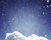 """Cloud and Stars Photo """"Stars Above and Cloud Below"""" Blue Sky Ethereal Night Sky Stars Photograph Print Nature Photography"""