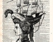 Vintage Dictionary Print - Crown of Sails - Weird Fashion Antique Book Print - Elegant Pirate Surreal Home Decor - Altered Book