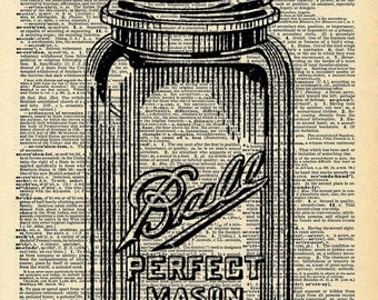 Old Book Art Print - Mason Jar - Vintage Kitchen Decor - Recycled Book Print - Kitsch Vintage Wall Art - Upcycled Book Print