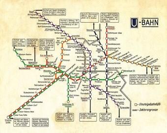 "Vintage Berlin Map ""U-Bahn"" Antique German Subway Vintage Map - Deco Germany Travel Tourism - Kitsch Underground Colour"