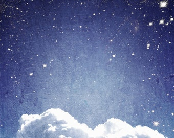 "Cloud and Stars Photo ""Stars Above and Cloud Below"" Blue Sky Ethereal Night Sky Stars Photograph Print Nature Photography"