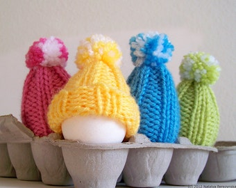 Egg Cozy Knitting Pattern, Knitting Pattern, Amigurumi Pattern, Beginner Knitting Patterns, Easter Egg Hat, Egg Warmer, Pom Pom Hat Pattern