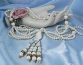Vintage Milk Glass Lariat Necklace