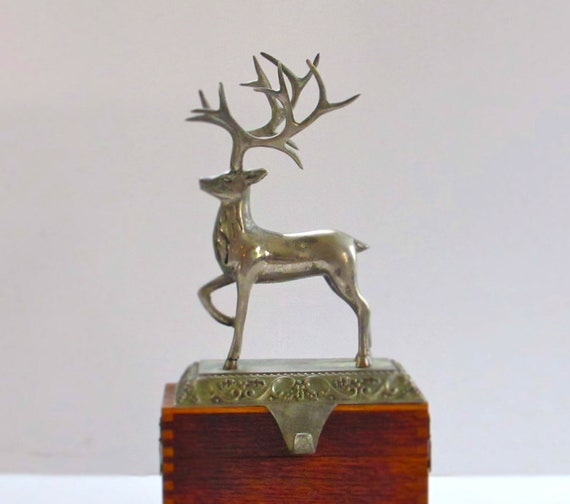 Vintage silver reindeer christmas stocking hanger by for Mantle holders