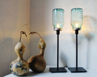 Mason Jar Lamps, Set of 2 Mason Jar Table Desk Lamps, Antique Blue Jars, Black Metal Lamp Fixtures, Modern BootsNGus Lights, Bulbs Included