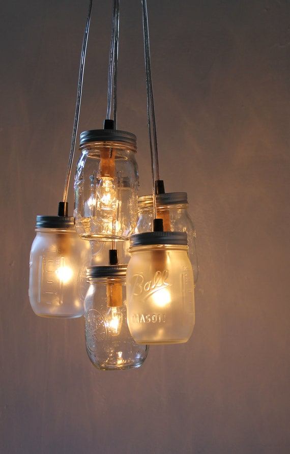 Mason Jar Chandelier, Hanging Mason Jar Lighting Fixture, Clustered Clear and Frosted Mason Jars, Upcyled Rustic BootsNGus Lights & Decor
