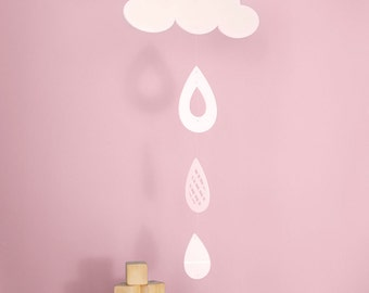 Cloud and Rain Drops Mobile, Baby Crib Mobile, Baby Mobile, Nursery Mobile Decor - Cloud and Rain Drops Mobile
