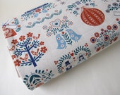 SALE 30% Off - Half Yard Folk Splendor Fabric by Dutch Door Press for Kokka - Red, Blue, Teal