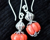 Carved Coral Earrings with Thai Fine Silver Beads