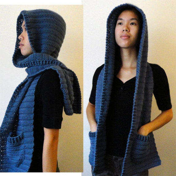 Knitted Hooded Scarf With Pockets Pattern : Hooded Scarf Version 2 3 sizes PDF Crochet Pattern