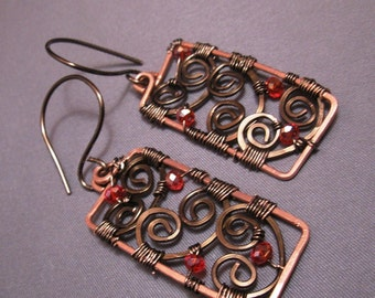 Free Gift Wrap - Copper and Gunmetal Cage Hammered Earrings