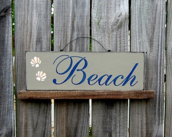Beach Sign, Painted Wood Sign, Seashells, Sand, Ocean, Sea, Nautical Wall Decor, Beach House Decor, Tan, Navy Blue Lettering