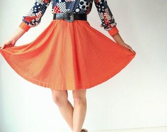 PATCHWORK Dress 70's vtg POLKA DOT Dress / Full Circkle Skirt / Wide Collar