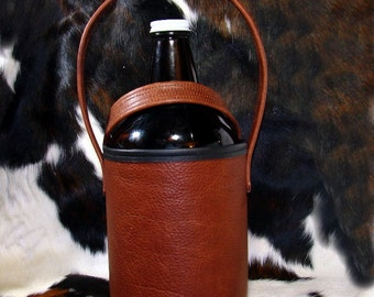 Red Sky Leather Growler Beer   - Antique Whiskey Bison Leather Growler - Beer Drinking Ready