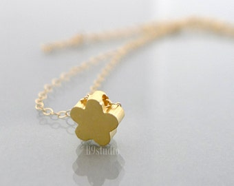 Gold necklace, dainty simple flower jewelry, small charm pendant, minimalist, gold filled chain, everyday bridesmaid wedding holidays gift